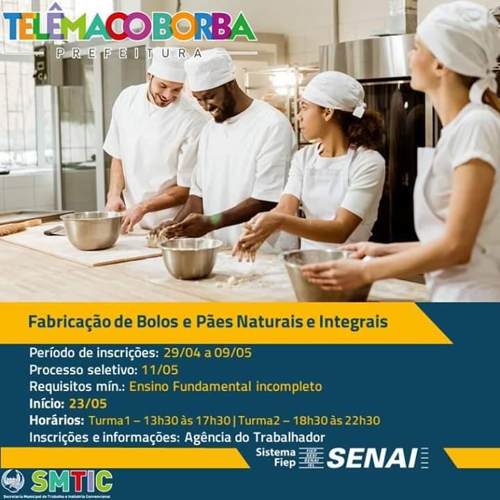 Fabricação de bolos e paes naturais e integrais cursos gratuito telemaco borba