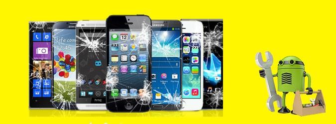 Manutenção de Celular varios celulares com bonequinho do android